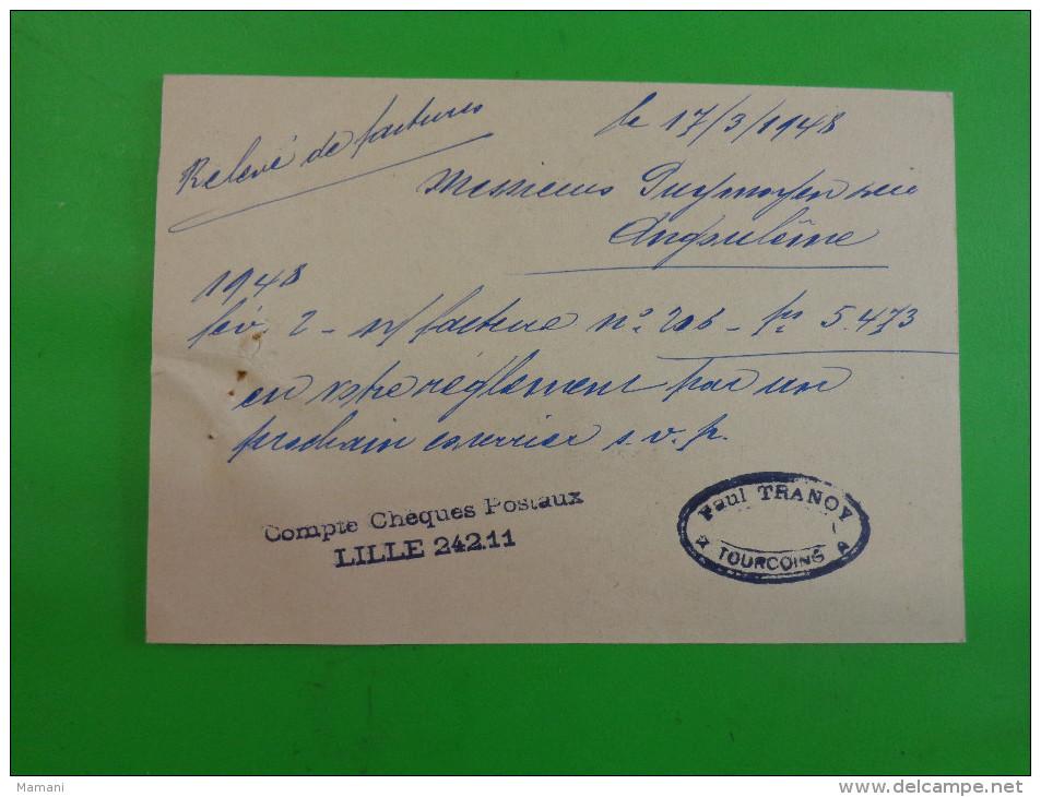 Releve De Facture Sur Carte Postale Savonnerie Tranoy Tourcoing- - 1900 – 1949