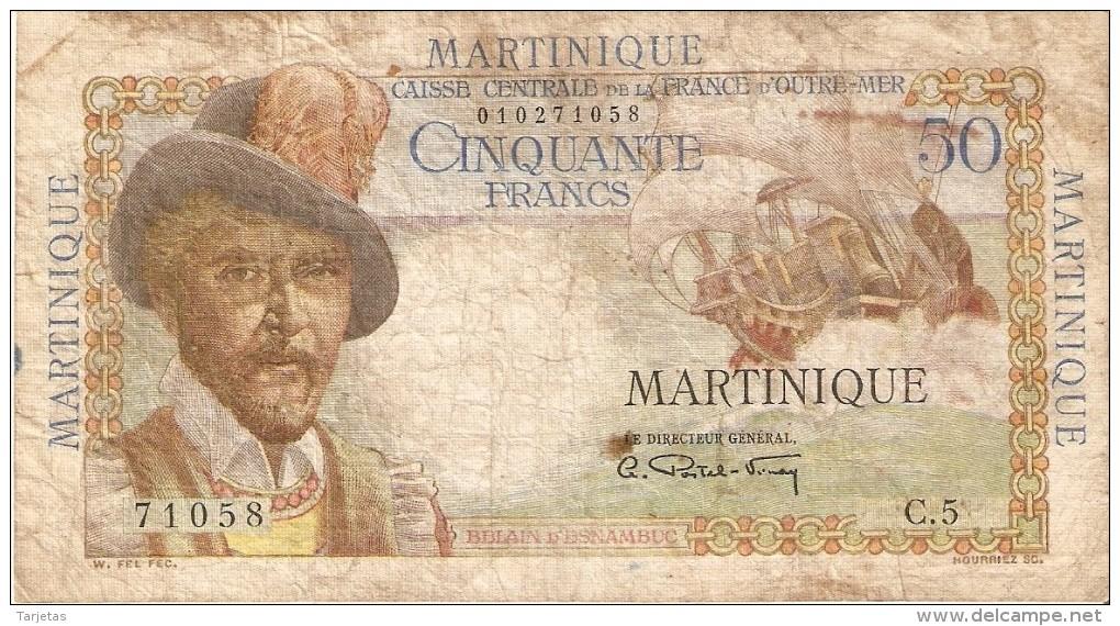 BILLETE DE MARTINIQUE DE 50 FRANCS DEL AÑO 1947-49 (BANKNOTE) - Francia