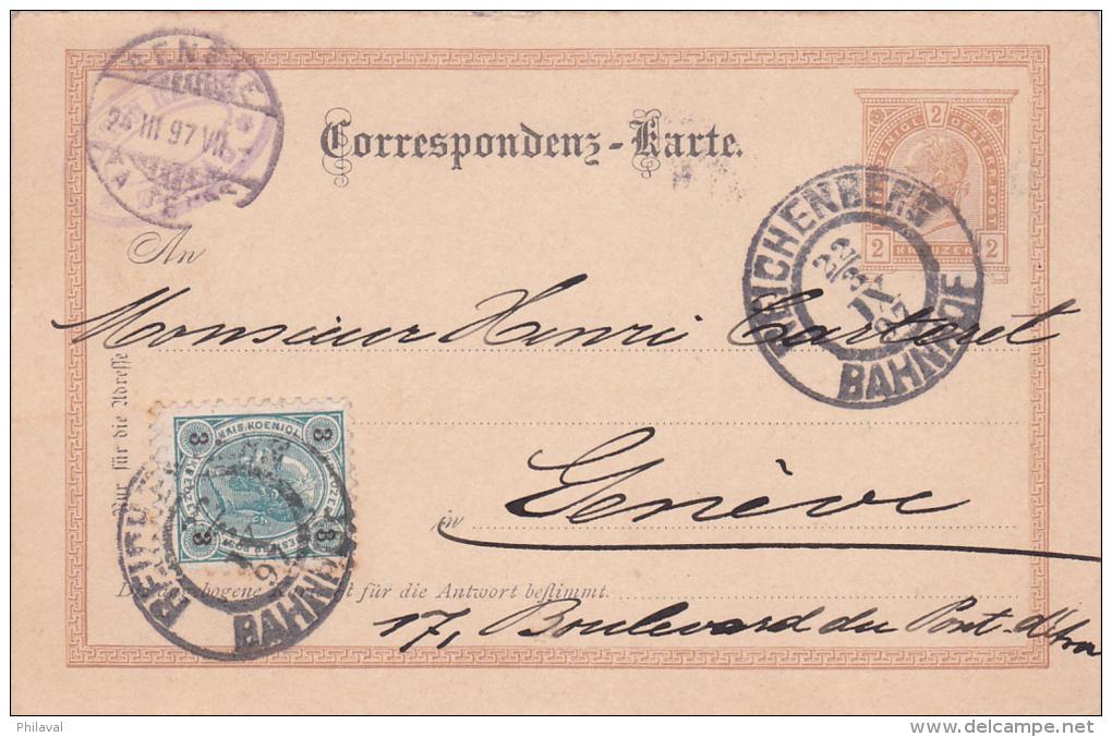 AUTRICHE : Entier Postal Avec Affranchissement Complémentaire, Oblitéré REICHENBERG Le 22.3.1897 à Destination De Genève - Entiers Postaux