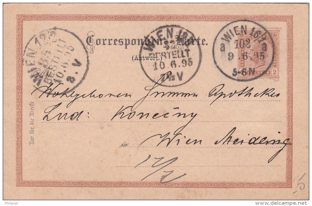 AUTRICHE : Entier Postal Oblitéré  WIEN Le  9.6.1895 à Destination Du WIEN - Entiers Postaux