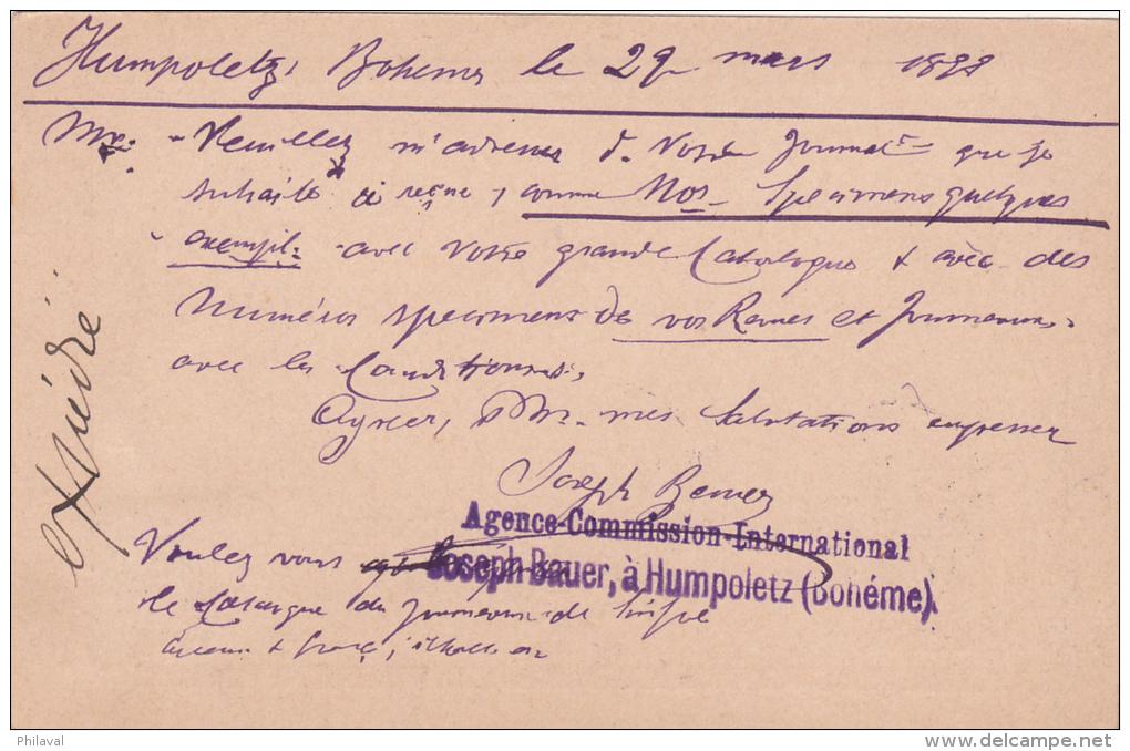 AUTRICHE : Entier Postal Avec Affranchissement Complémentaire Oblitéré HUMPOLEC Le 29.3.1899, à Destination De Genève - Entiers Postaux