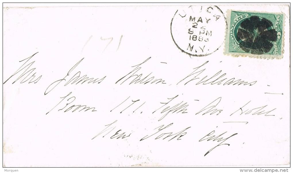 9498. Carta UTICA (NY) 1883. Fancy Cancel - 1847-99 Emisiones Generales