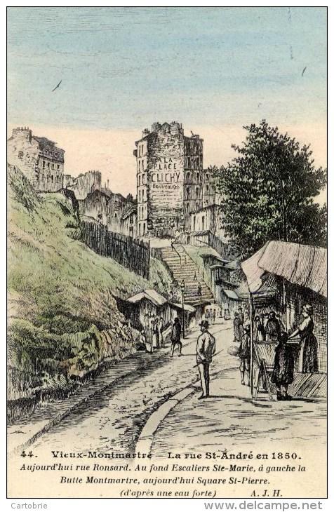 75 PARIS - VIEUX MONTMARTRE - La Rue Saint-André En 1850 - Animée, Couleur - Edit. A.J..H. - Arrondissement: 18