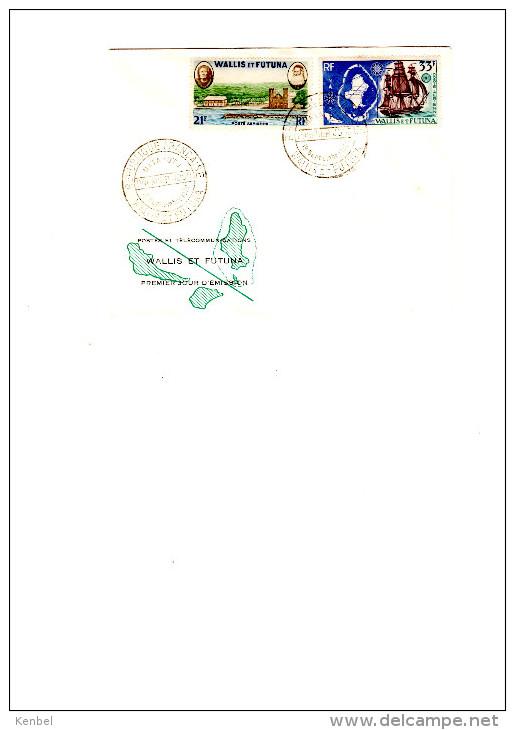 Enveloppe 1er Jour: Carte De Wallis Et Futuna.  33f   Reine Amélia Et Monseigneur Bataillon 21 F - Wallis Und Futuna