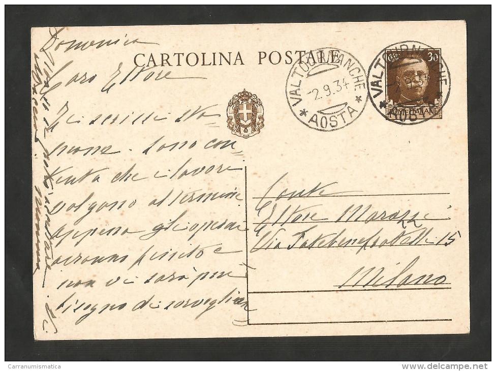 REGNO D' ITALIA - CARTOLINA POSTALE (1934) / Da VALTOURNANCHE (AO) - 1900-44 Vittorio Emanuele III