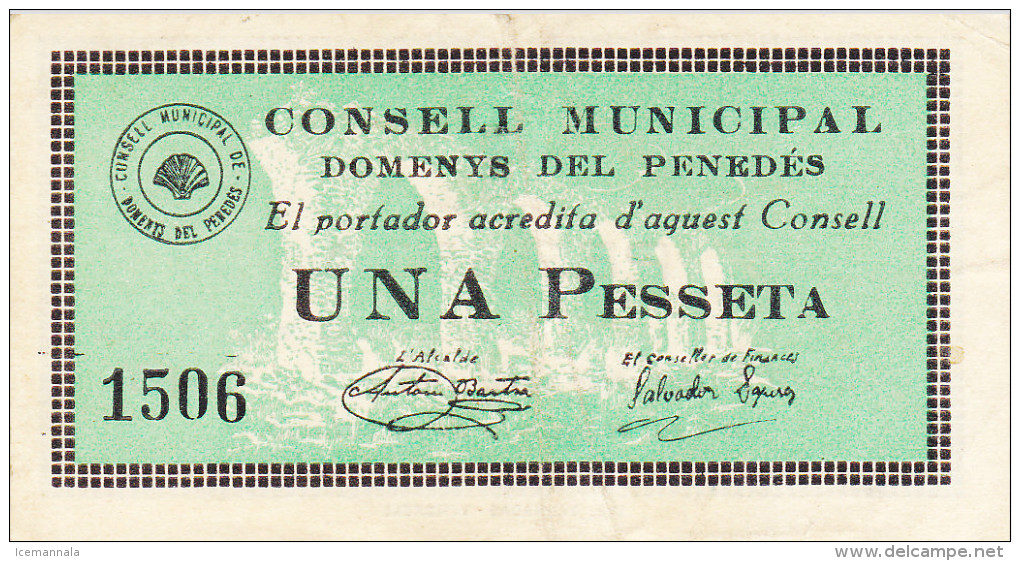 BILLETE LOCAL GUERRA CIVIL 1 PTS CONSELL MUNICIPAL DOMENYS DEL PENEDES - Espagne