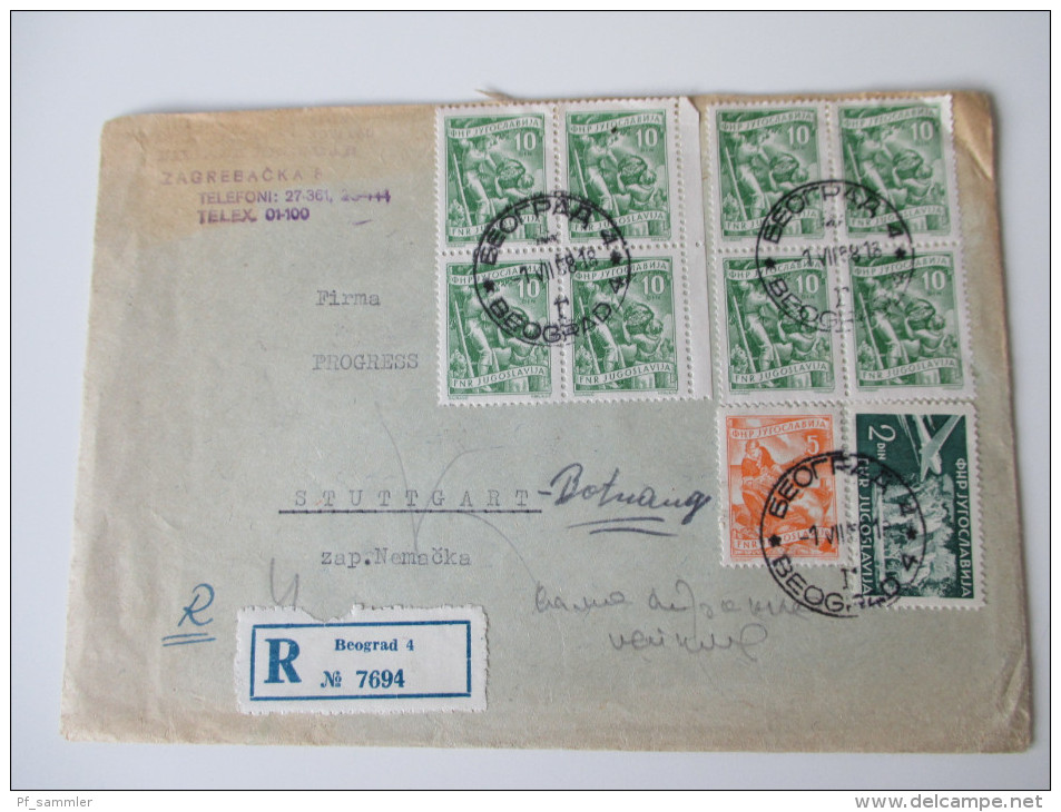 Jugoslawien 1958 Registered Letter To Stuttgart. Schöne Frankatur. R Beograd 4 No 7694 - 1945-1992 Repubblica Socialista Federale Di Jugoslavia