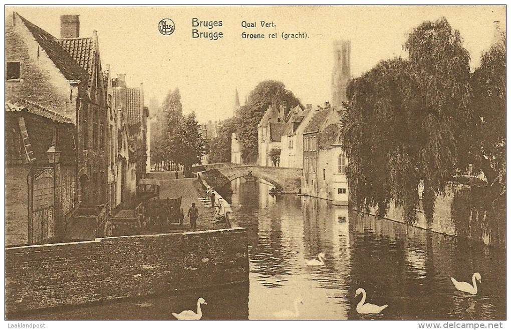 Old Picturecard Brugges Quai Vert, Groene Rei (gracht) - Brugge