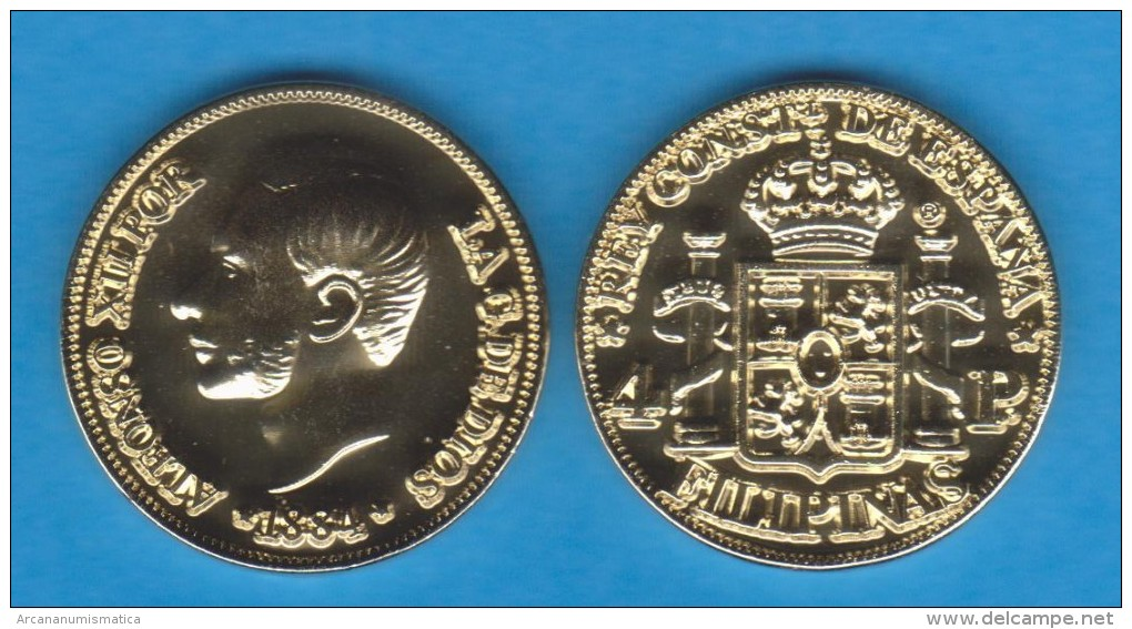 PHILIPPINES  (Spanish Colony-King Alfonso XII) 4 PESOS  1.884  ORO/GOLD  KM#151  SC/UNC  T-DL-10.936 COPY  Usa - Philippines