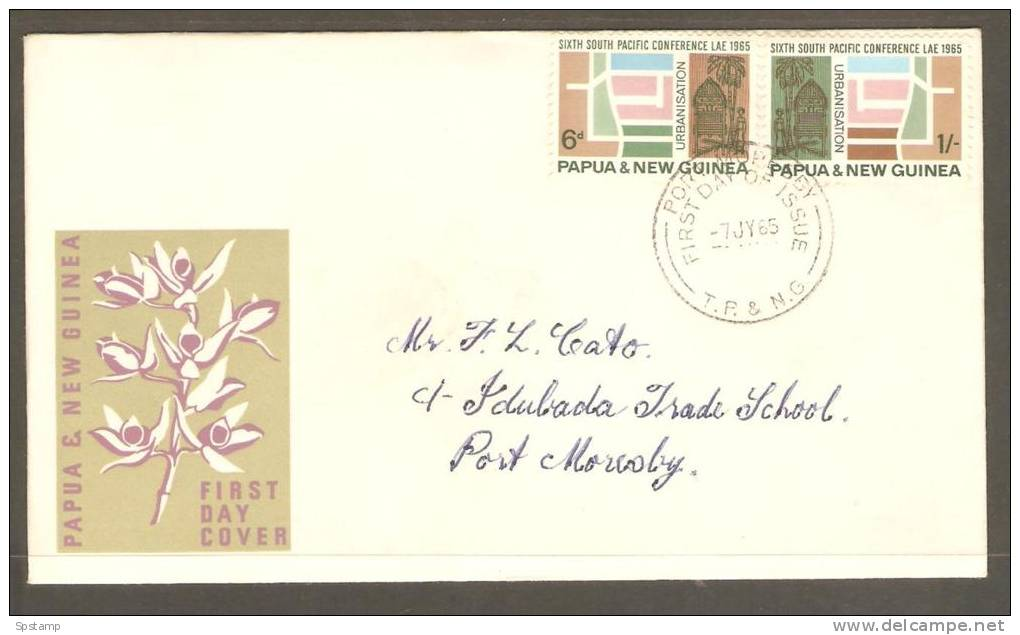 Papua New Guinea 1964 South Pacific Conference Set  On FDC Addressed - Papouasie-Nouvelle-Guinée