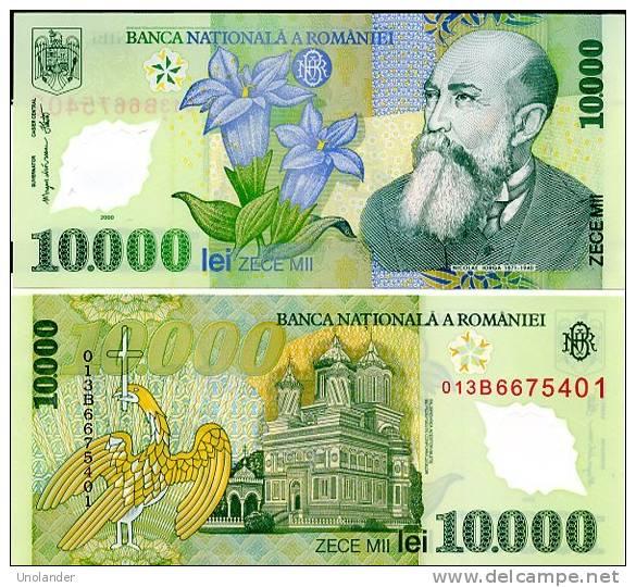ROMANIA P-112  10,000 Lei 2000  **UNC** Crisp New, Plastic-polymer - Roumanie
