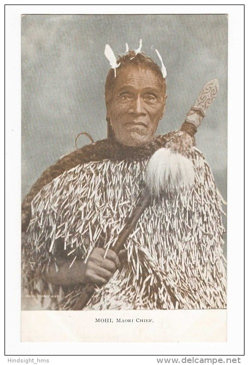 New Zealand (NZ), Maori Chief Mohi, Carved Staff Or Spear (Taiaha), Postcard - New Zealand