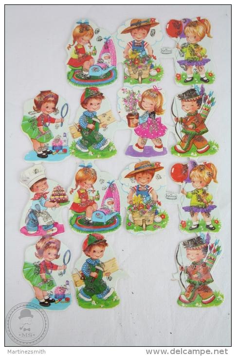 14 Different Childrens Illustrations - Germany Kruger Embossed, Die Cut/ Scrap Paper - Infantes