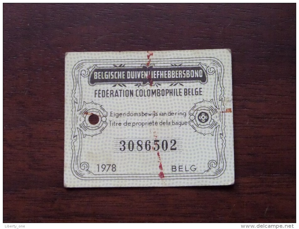 Fédération Colombophile Belge - Titres De Propriété De 1978 Eigendomsbewijs Ring Bague Duivenliefhebbersbond ! - Autres