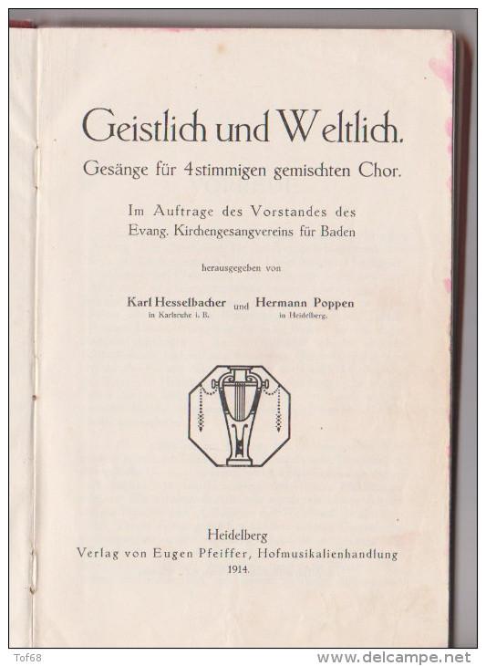 Geistlich Und Weltlich Gesänge 1914 Evang .Kirchengesangsvereins Für Baden - Christianisme