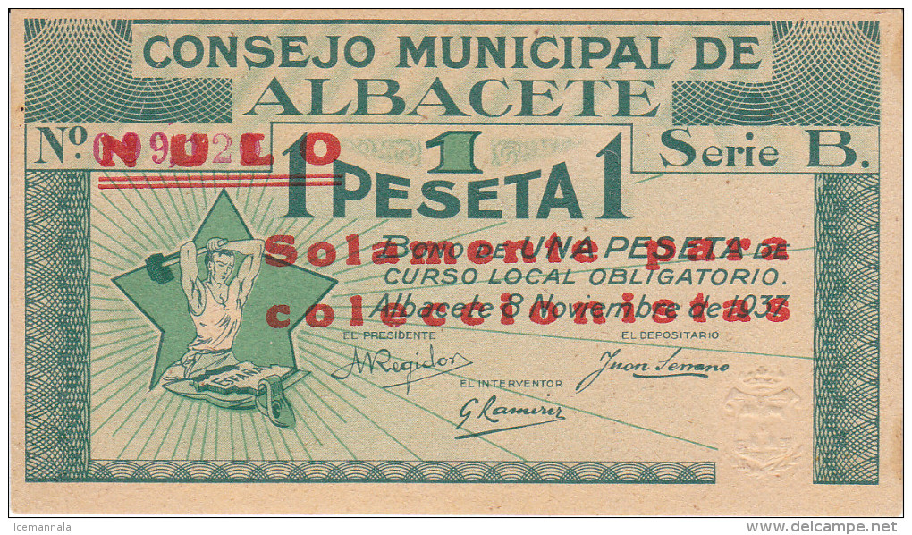 BILLETE LOCAL GUERRA CIVIL 1 PTS  CONSEJO MUNICIPAL ALBACETE S/C - Espagne