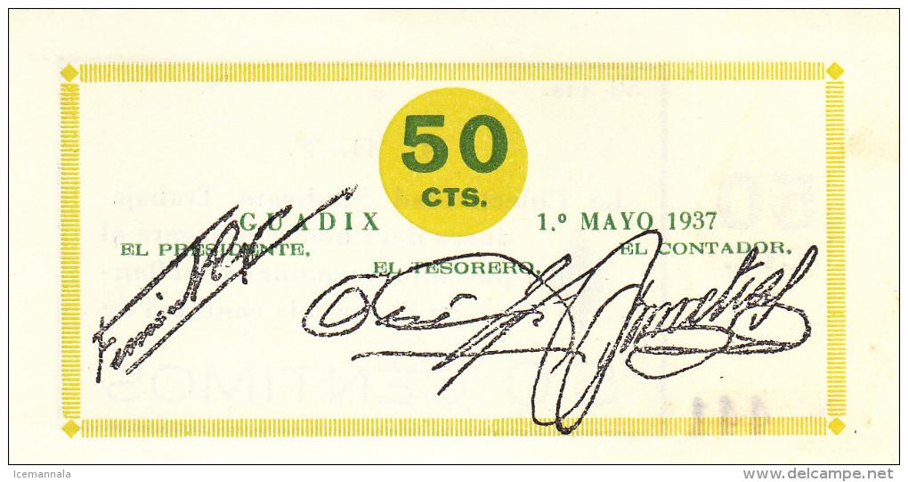 BILLETE LOCAL GUERRA CIVIL 50 CTS GUADIX  S/C - Espagne