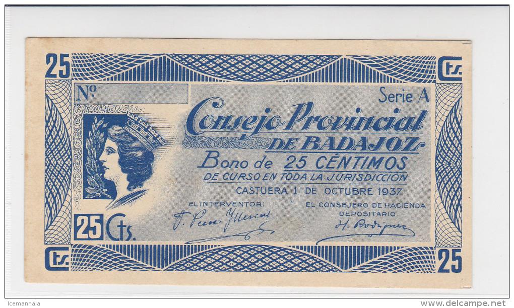 BILLETE LOCAL GUERRA CIVIL  25 CTS CONSEJO PROVINCIAL DE BADAJOZ - Espagne