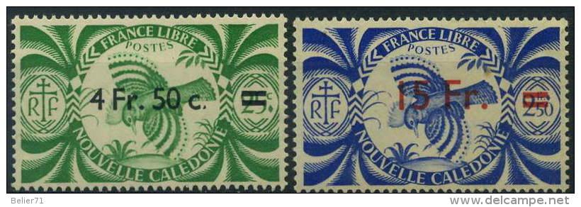 France, Nouvelle Calédonie : N° 255 Et 256 Xx Année 1945 - Neufs