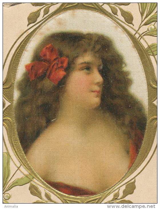 Art Nouveau Belle Femme Gaufrée Dorée Peinte Sur Soie Erotisme Gui - Cartes Postales