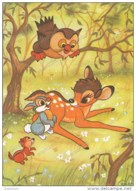 BAMBI, Rabbit, Owl And Squirrel -  Lapin, Hibou Et L'écureuil,old Postcard - Disneyland