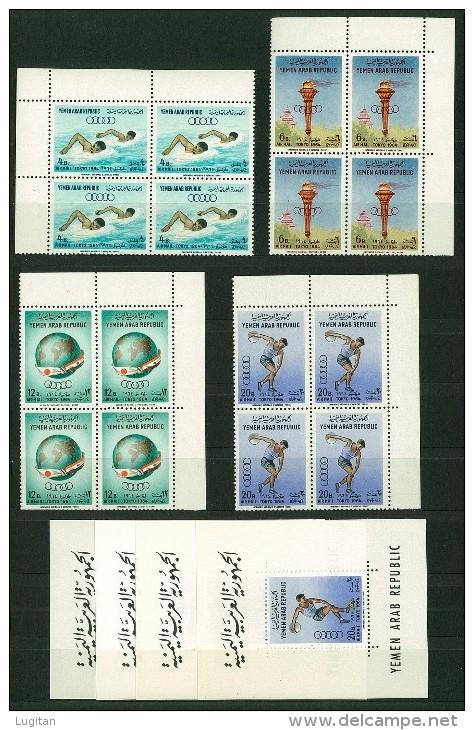 YEMEN SETTENTRIONALE QUARTINA  + 4 FOGLIETTI  GIOCHI OLIMPICI TOKYO 1964  SERIE E FOGLIETTO - QUARTINA - BLOCK OF FOUR - Summer 1964: Tokyo