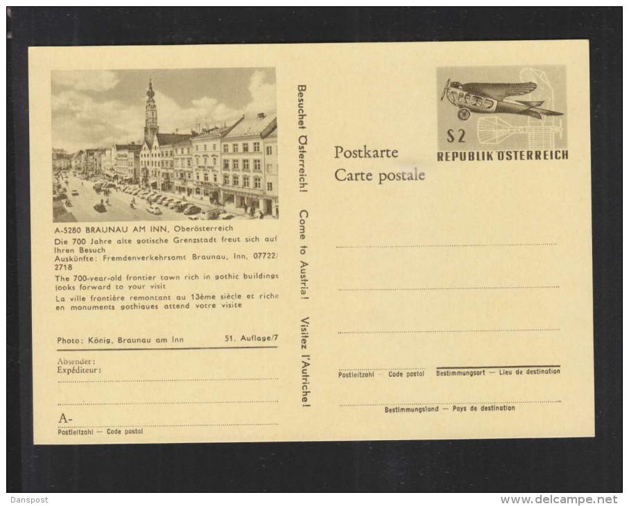 """Österreich Bild GA """"Besuchet Österreich"""" Braunau Am Inn 2 Schilling Ungebraucht - 1945-60 Briefe U. Dokumente"""