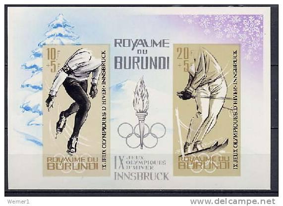 Burundi 1964 Olympic Games Innsbruck S/s Imperf. MNH - Winter 1964: Innsbruck