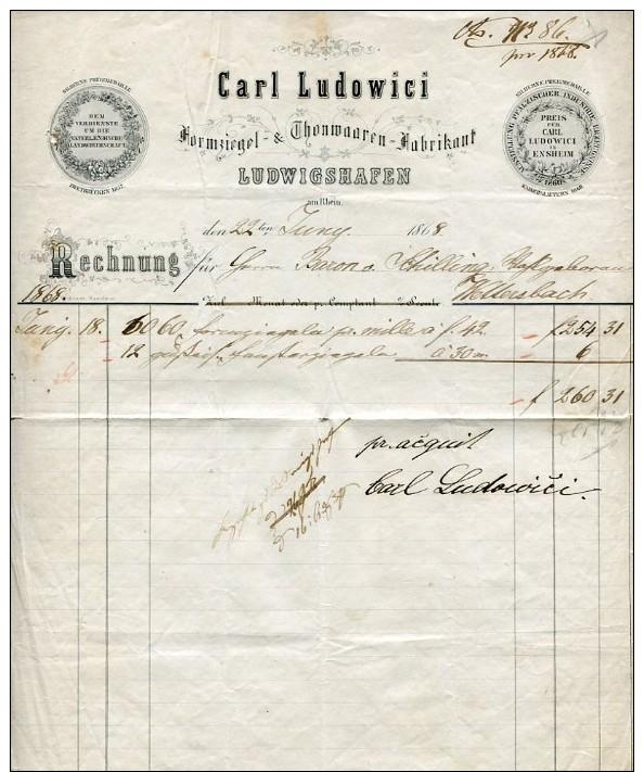 ZIERBRIEFBOGEN 1868 Lidowici Ludwigshafen (42199) - Historische Dokumente