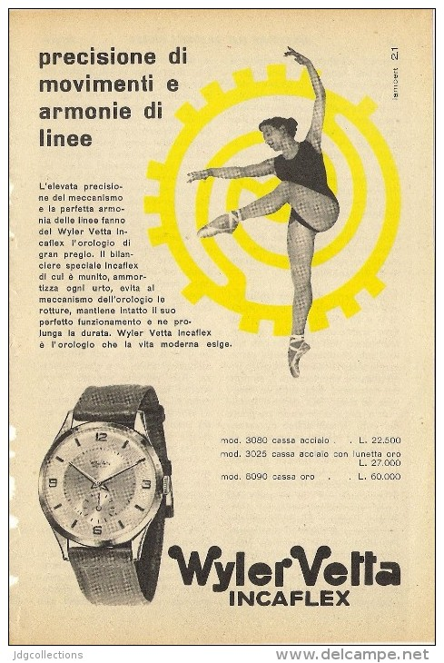 # WYLER VETTA INCAFLEX OROLOGI HORLOGERIE 1950 Italy Advert Publicitè Reklame Orologio Montre Uhr Reloj Relojo Watch - Montres Publicitaires