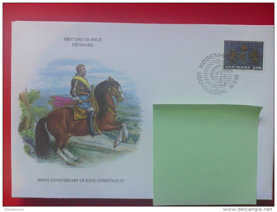 1988 Denmark FDC - King Christian IV's Acession To The Throne 400th Anniv. (Arms)(Royalty) - FDC