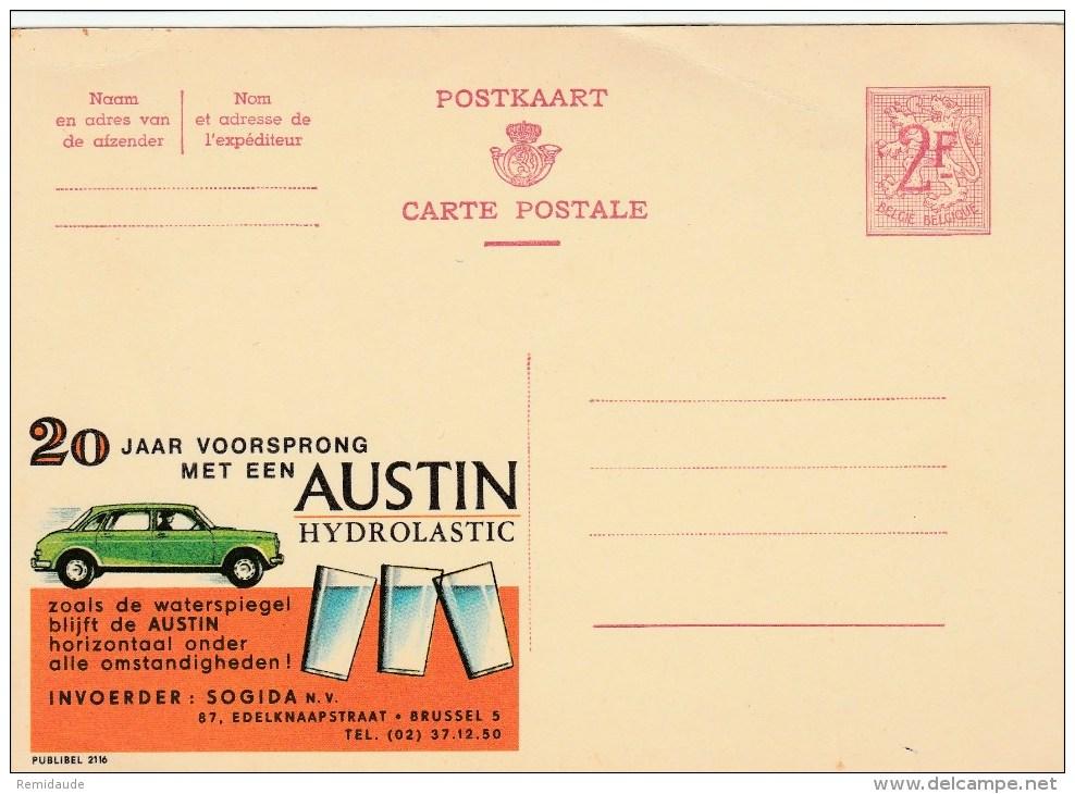 "BELGIQUE - CARTE ENTIER PUBLICITAIRE ""PUBLIBEL"" N°2116 - AUTO AUSTIN - Werbepostkarten"