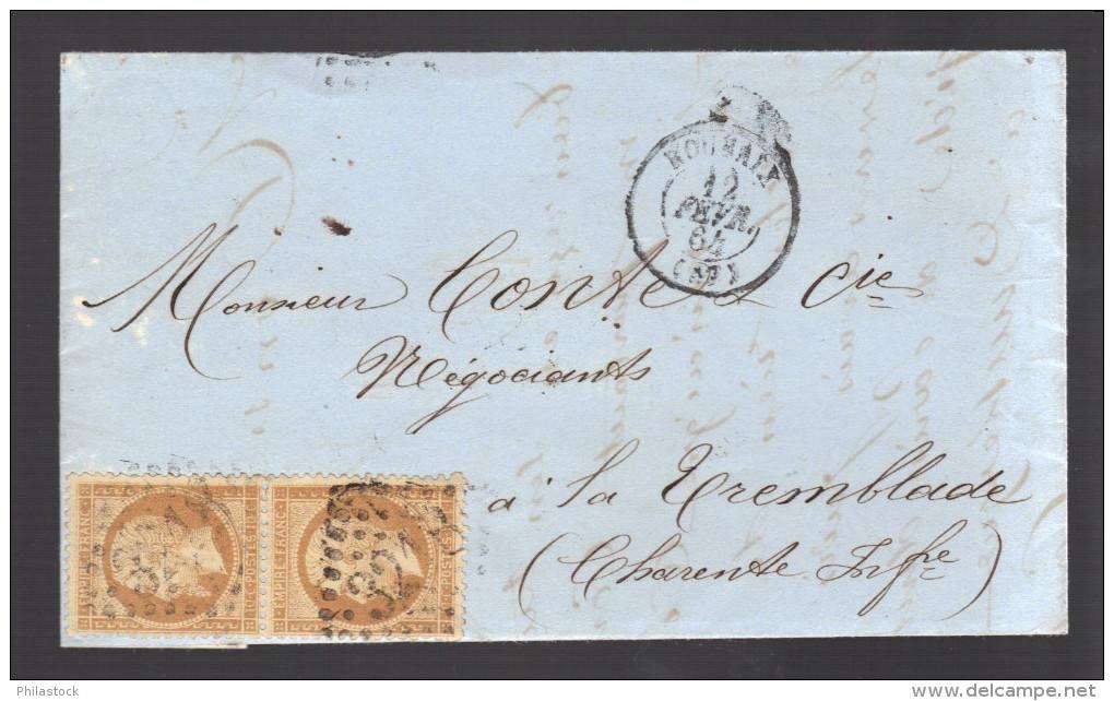 FRANCE N° 21 Paire Obl. S/Lettre Entiére GC 3218 Roubaix - 1862 Napoleon III