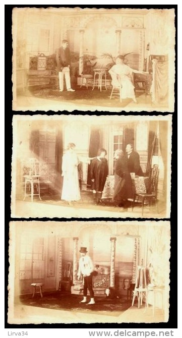 "LOT 3 CPA-PHOTOS ANCIENNES- FRANCE- SCENES DE THEATRE ""BLUNT""- PHOTOS SAMSON & CO.- ATELIER KREFELD- - Fotos"