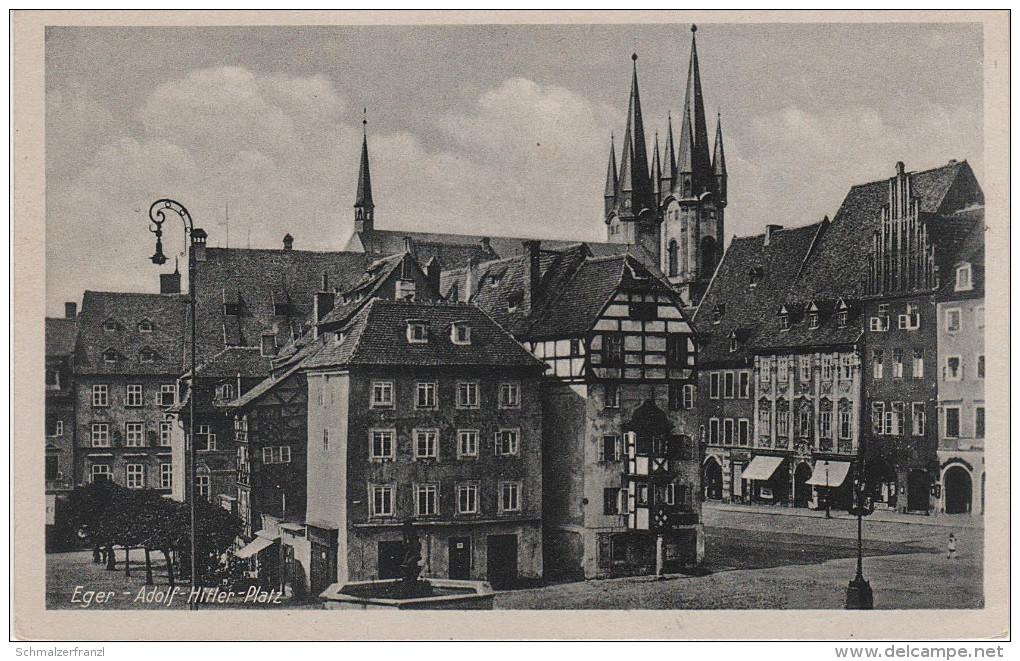 AK Eger Adolf Hitler Platz Markt Cheb Egerland Sudetenland Sudeten Bei Franzensbad Frantiskovy Lazne Asch As - Sudeten