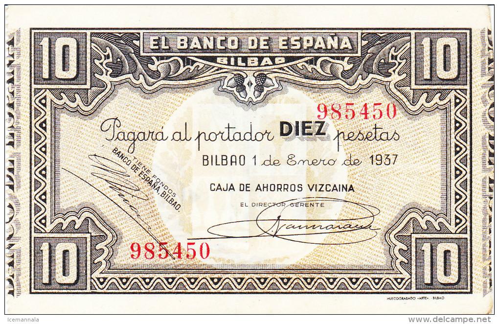 10 PTS  BILBAO  1937 - 10 Pesetas