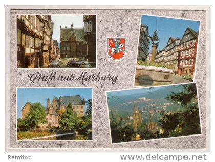 Marburg , Mehrbildkarte , Rathaus - Marktbrunnen - Landgrafenschloß - Blick Auf Die Elisabethenkirche - Marburg