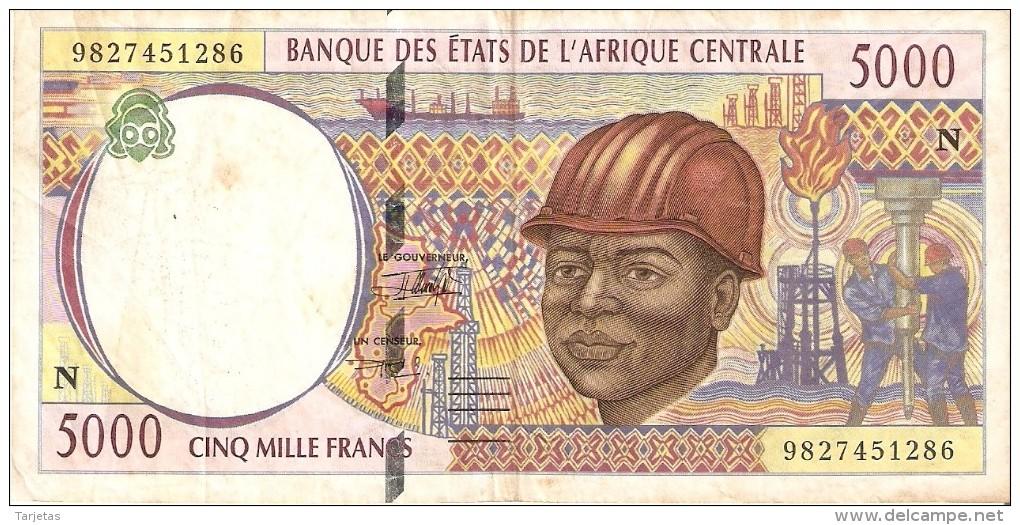 BILLETE DE GUINEA ECUATORIAL DE 5000 FRANCS DEL AÑO 1994  (BANKNOTE) PETROLEO (LETRA N) - Guinée Equatoriale