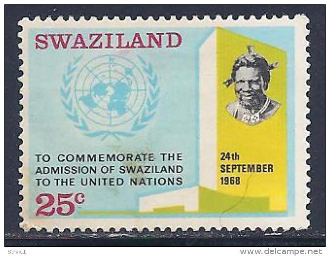 Swaziland, Scott # 178 Mint Hinged UN Emblem & Bldg, 1969 - Swaziland (1968-...)