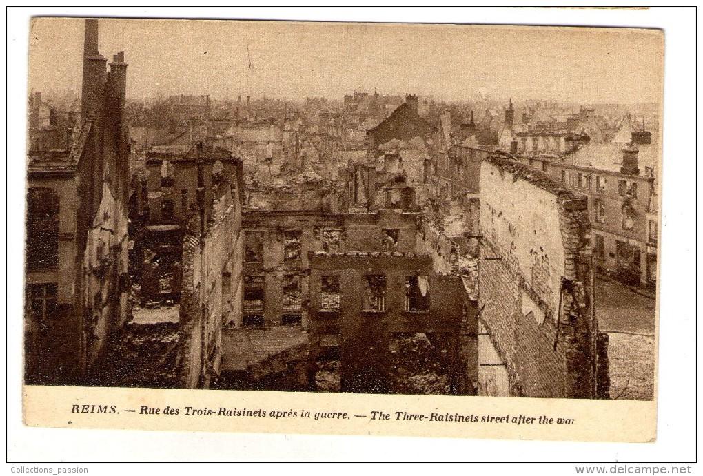 Cp , Militaria , Guerre 1914-18 , REIMS , Rue Des Trois Résinets Après La Guerre , Vierge , Ed : Reims-cathédrale - Guerre 1914-18
