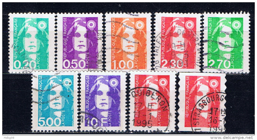 F+ Frankreich 1990 1993 Mi 2754-55 2765-66 2775 2777-78 2945-46 Marianne - Oblitérés