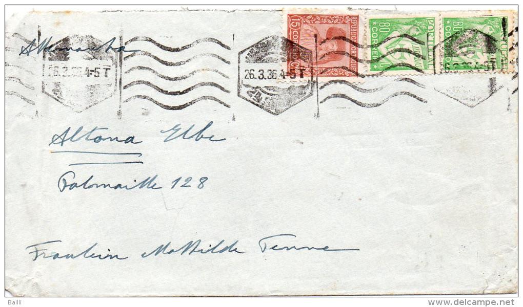PORTUGAL LETTRE POUR L'ALLEMAGNE 1936 - Marcophilie