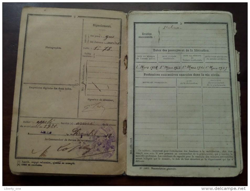 Classe 1920 - Bureau De Recrutement Lille 1933 ( SION Né 1900 Tourcoing / Details Zie Foto ) Visa 1939 / 1940 ! - Non Classés