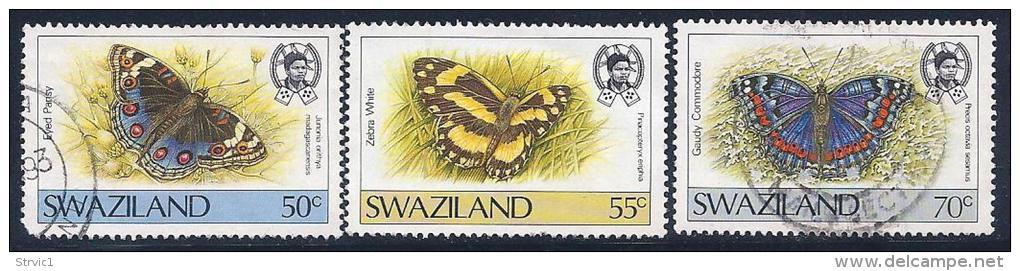 Swaziland, Scott # 513-5 Used Butterfles, 1987, #513 Has Round Corner - Swaziland (1968-...)