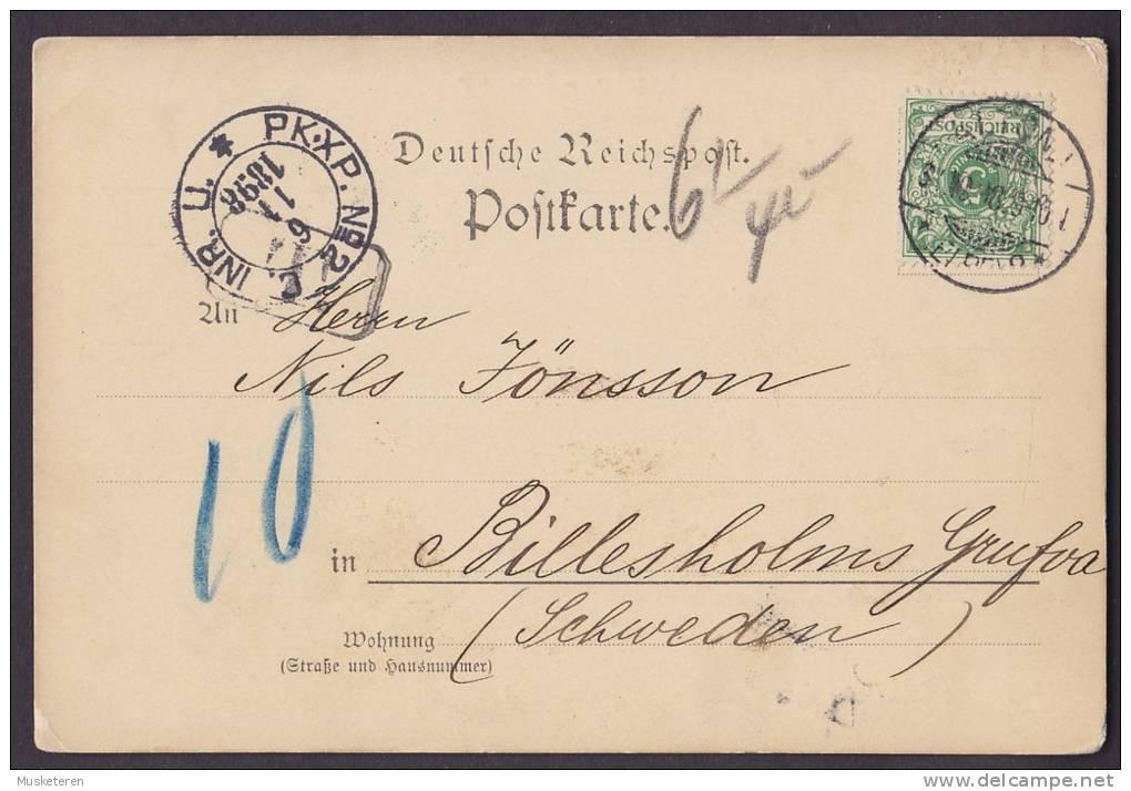 Deutsche Reichpost PAPIER-LAGER LEHMANN & HILDEBRANDT, ALTONA 1898 Postkarte To BILLESHOLM Sweden (2 Scans) - Briefe U. Dokumente