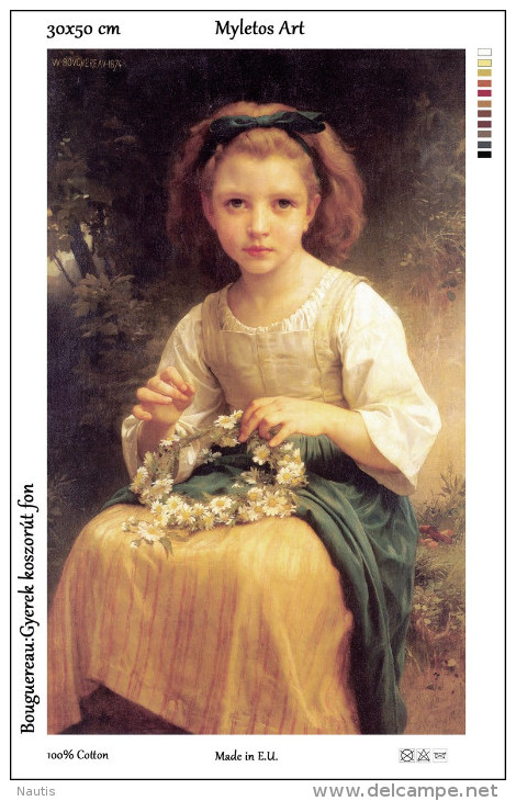 New Tapestry, Gobelin, Picture, Print, Bouguereau, Wreath, Child - Creative Hobbies