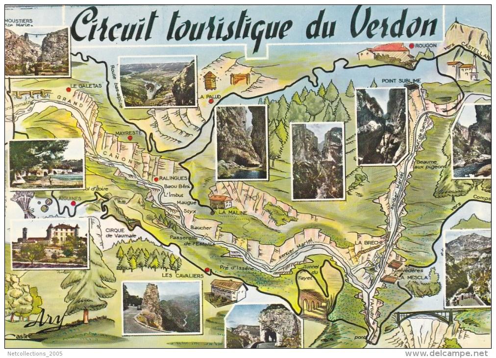 CIRCUIT TOURISTIQUE DES GORGES DU VERDON 4 CARTES POSTALES - 04 BASSES ALPES (I) - Delcampe.net