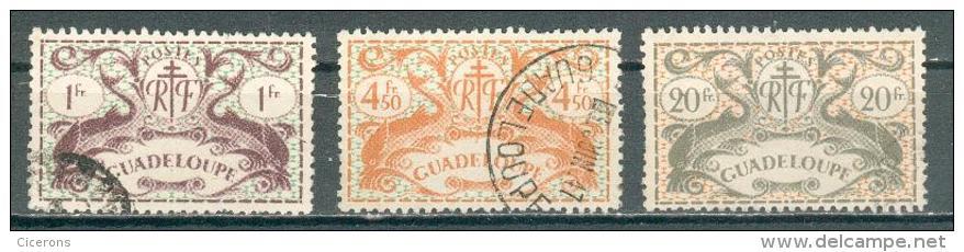 Collection GUADELOUPE ; Colonie ;  1945 ; Y&T N° 185-192-196 ; Lot  ;  Oblitéré - Oblitérés