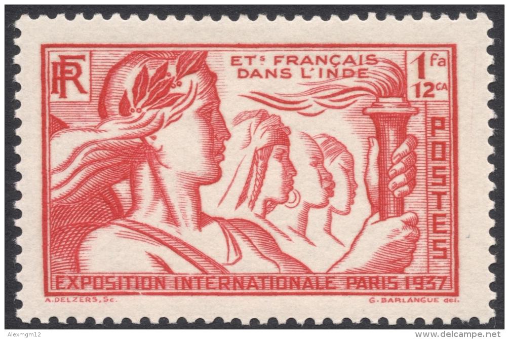 French India, 1 Fa. 12 Ca. 1937, Sc # 108, MH. - India (1892-1954)