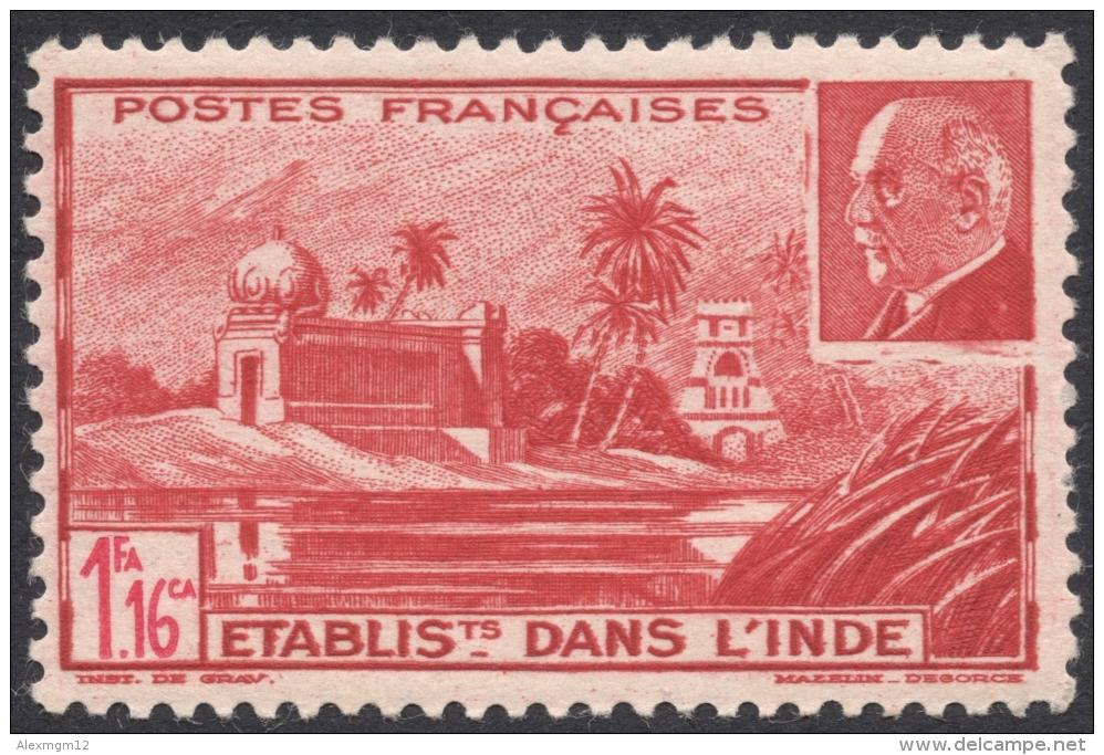 French India, 1 Fa. 16 Ca. 1941, Sc # 112A, MH. - India (1892-1954)
